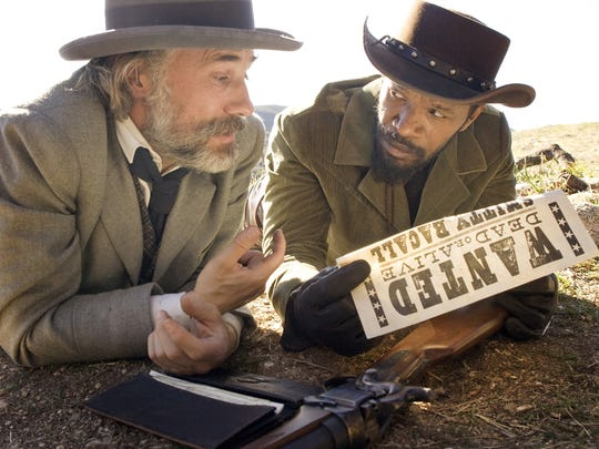 Christoph Waltz and Jamie Foxx in a scene from the