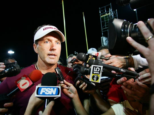 ASU football coach Dirk Koetter talks Sunday, August 20, 2006 about the abrupt departure of QB Sam Keller.