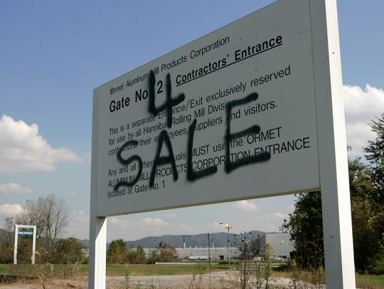 A sign at an entrance of the Ormet aluminum plants