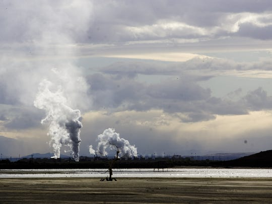 A geothermal power plant on the southern shore of the