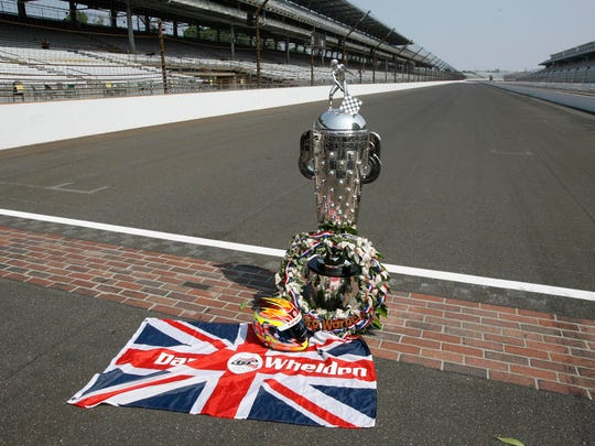 May 28, 2012: A tribute to Dan Wheldon is set up on