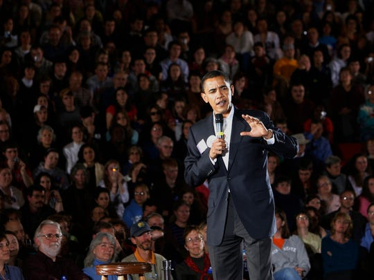Barack Obama campaigns in Concord, N.H., on April 2,