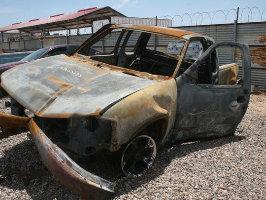 The burned car of Baltazar Lopez, found five days after