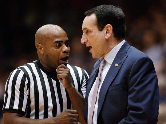 Rochester's Jeff Anderson, left, shown talking over a call a few seasons ago with Duke coach Mike Krzyzewski at Cameron Indoor Stadium, is one of 10 men who have been selected to officiate at the Final Four in San Antonio.