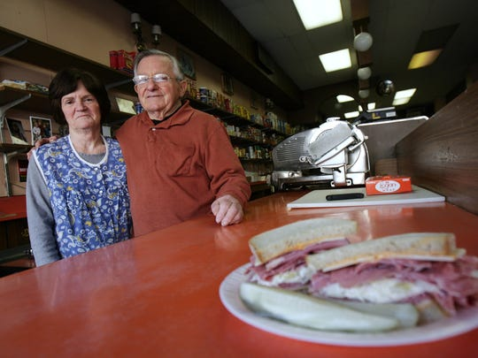 A 2009 photo of Barbara and Jimmy Hackett, owners of Leo' & Jimmy's Deli, as they showcase their corned beef special. It is one of the deli's most popular sandwiches.