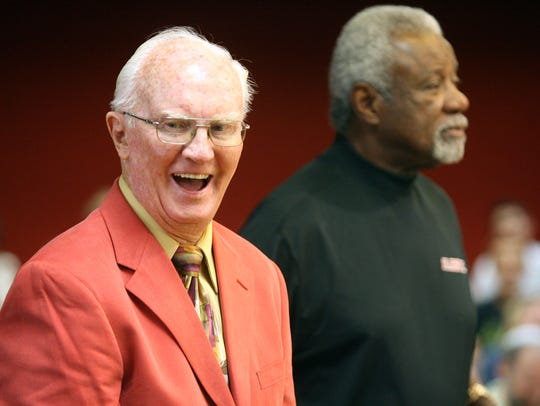 Former Mayor Bert Williams laughs in August 2009 as