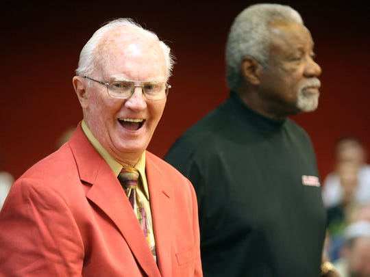 Former Mayor Bert Williams laughs in August 2009 as coach Nolan Richardson tells a story involving Williams. Williams received the Star of the Mountain Award from Mayor John Cook and the El Paso City Council for lifetime achievement.