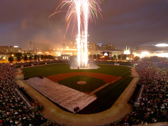 Fireworks explode at Victory Field.