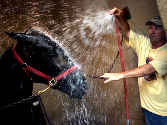Robert Bradley gives S.L. Dragon, a race horse a bath after his morning run at the Meadowlands during the July 2006 state shutdown. Despite the shutdown of New Jersey horse racing due to the budget stall, race horses have to be maintained as owners and racers are losing money by the day. This is nearing the end of the harness season in New Jersey and big stakes are set to be lost.The Record/James W.Anness