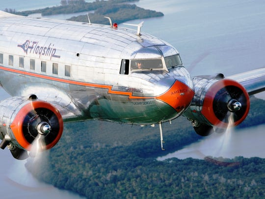 A close in view of the 1937 American Airlines Flagship Detroit, the oldest flying DC-3 in the world.
