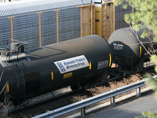 Tank cars placarded for ethanol in Teaneck N.J., in
