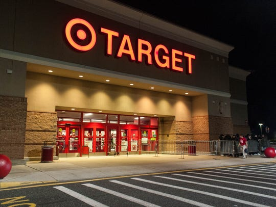 Local shoppers line up at Target for Black Friday deals.