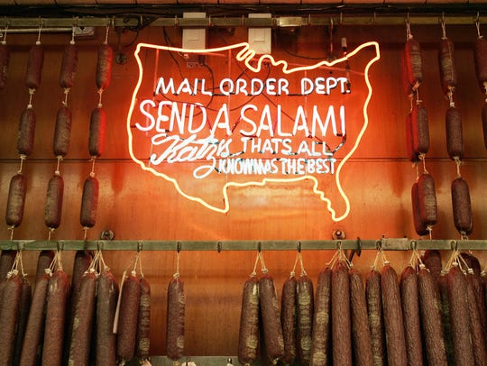 A neon sign surrounded by salami advertises the mail order department of Katz's Delicatessen on the Lower East Side of Manhattan in this 2007 Getty Images photo.