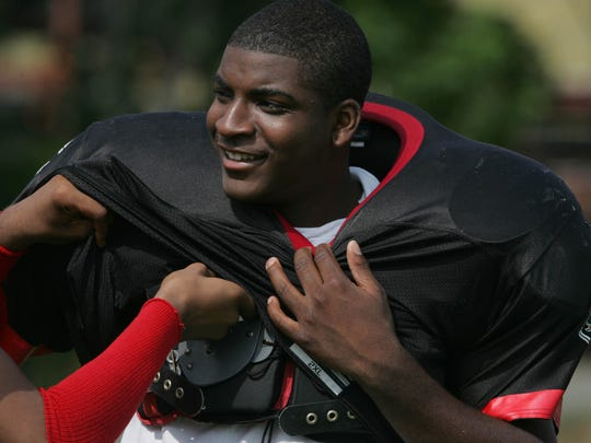 Vinny Curry, who will play in Super Bowl LII with the Philadelphia Eagles, is shown as a senior at Neptune in 2005.