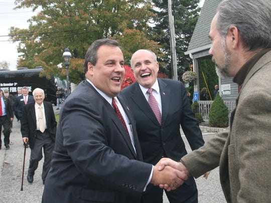 At the Valley View Pub in West Milford, Daniel Jurkovic, a West Milford councilman, welcomes.Gov. Chris Christie and former New York City Mayor Rudolph Giuliani in October 2009.