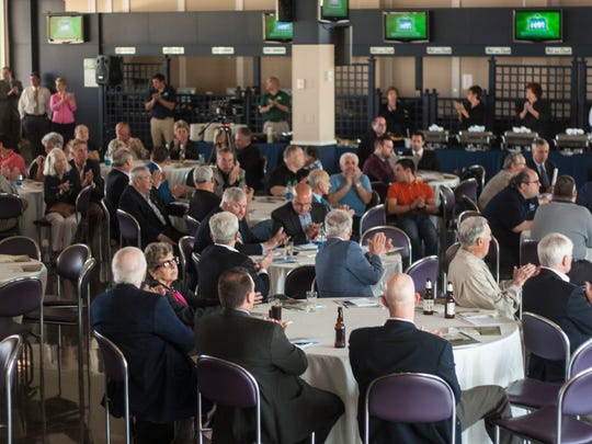 A crowd gathered in Monmouth Park's Turf Club for Tuesday's