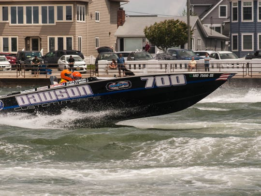 Race boats speeding by in the 2018 Point Pleasant Beach