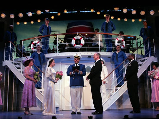"Jay Aubrey Jones (center) and the cast of ""Anything Goes"" at Goodspeed Musicals in 2016."