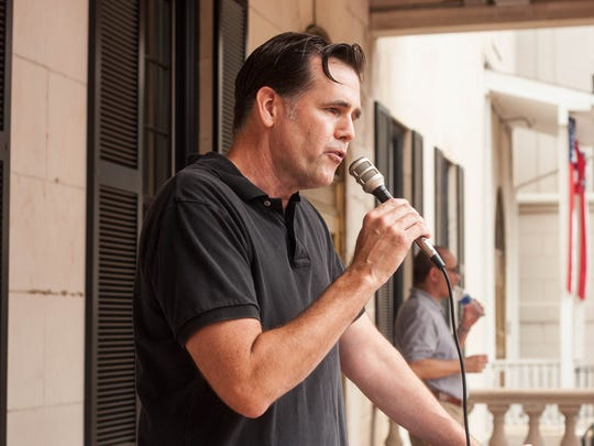 Mark Farrell speaks to a crowd in Freehold in June 2018.