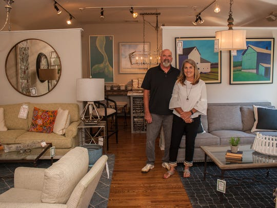 Owners Tim and Mara Nefke of The Store From River Road in Shrewsbury, which sells contemporary furniture and art.