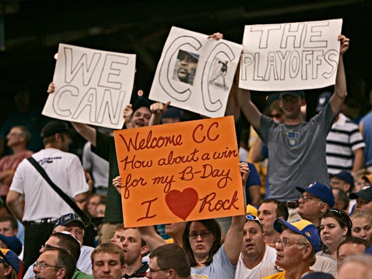 Fans show their support for Brewers Pitcher CC Sabathia