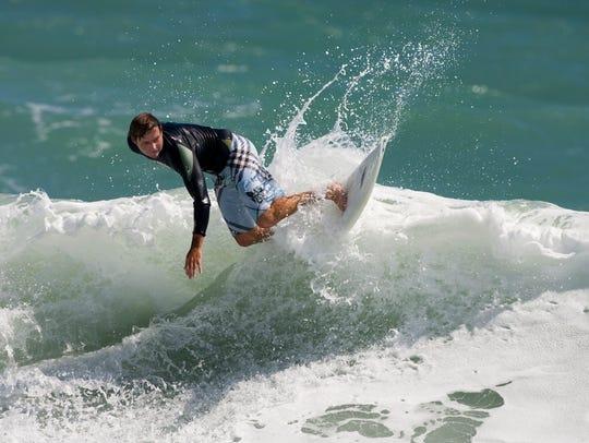 Stephen Schafer surfing in 2008.