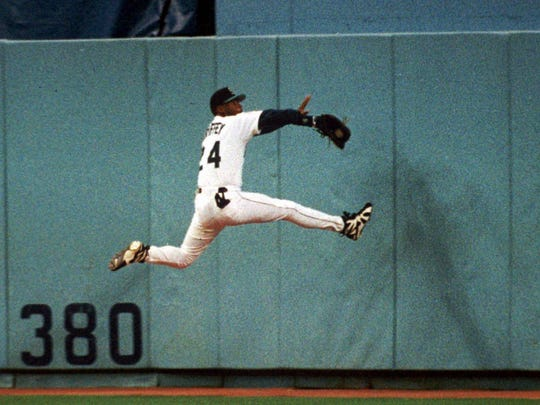 Seattle's Ken Griffey Jr. was one of the best defensive center fielders ever. He was pretty smooth on offense as well.