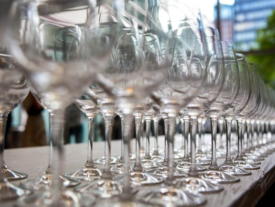 Wine glasses during Des Moines WineFest's Sips & The