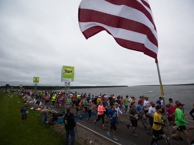 Racers take off for the start of the 36th annual Dam