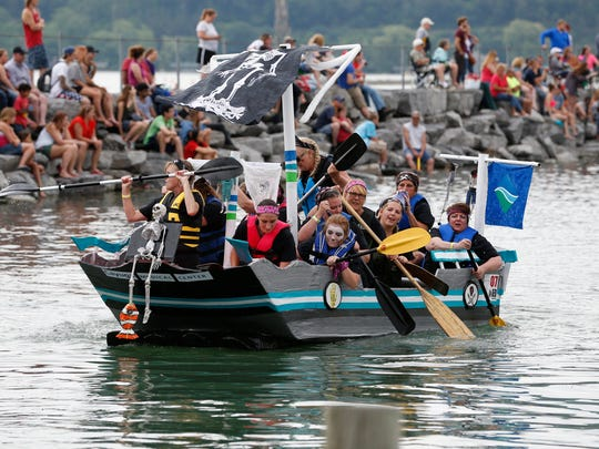 Fifty teams navigated their cardboard boats through Seneca Harbor Saturday afternoon at the annual Nearly Famous Boat Regatta.