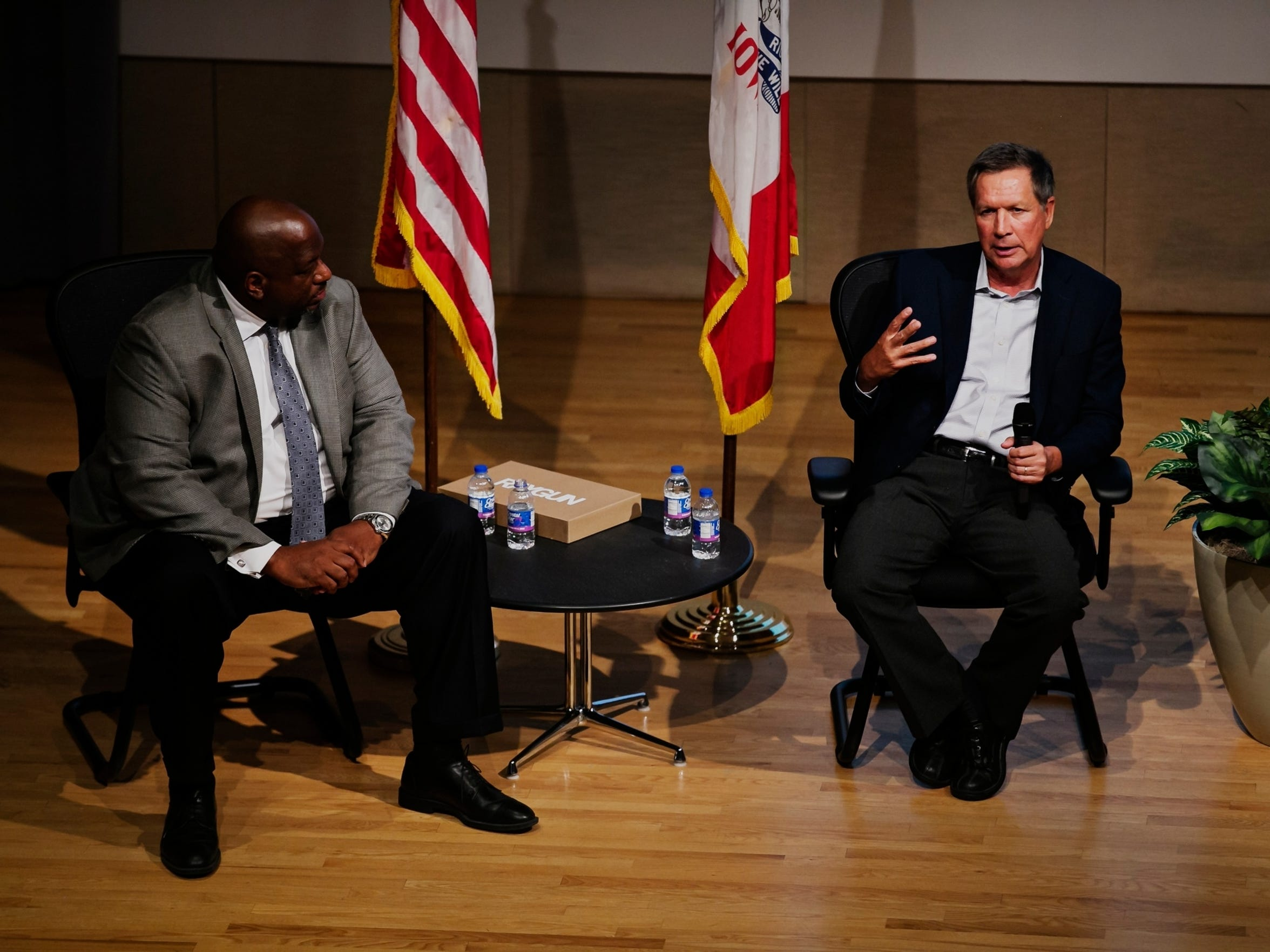 Ohio Governor John Kasich answers questions from the audience during the 2016 Iowa Caucus Consortium as part of the Caucus Candidate Forum Series at the Iowa State Historic Building on Wednesday, June 24, 2015.