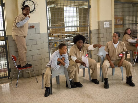 "Uzo Aduba (from left to right), Samira Wiley, Danielle Brooks and Vicky Jeudy in a scene from Netflix's ""Orange is the New Black."""