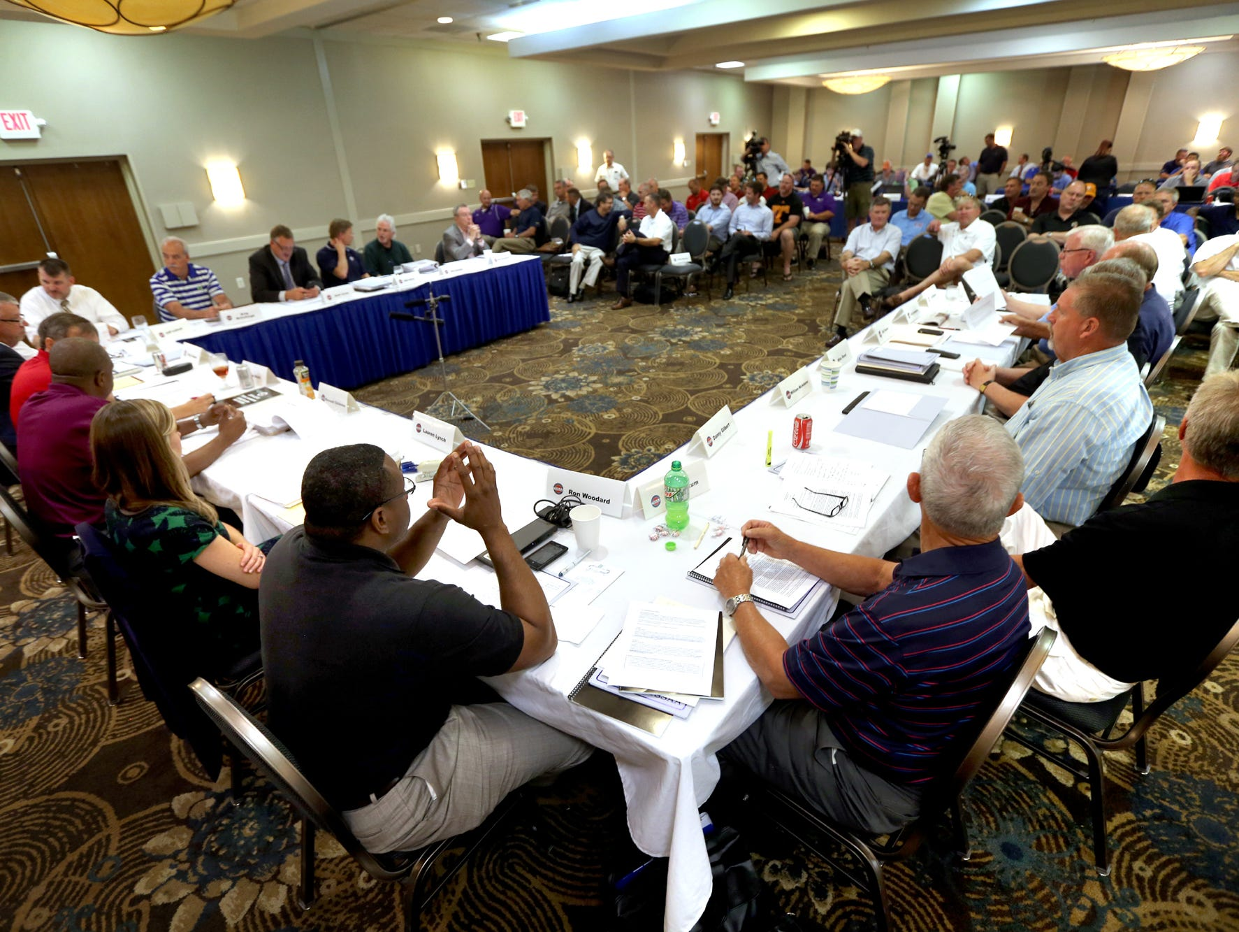 The TSSAA Legislative Council meets at the DoubleTree Hotel to vote on the private - public split on Thursday.