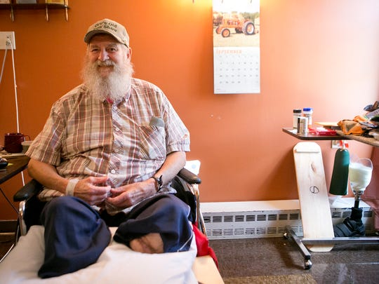 Edgewater Haven Nursing Home resident Orville Schraeder poses in his room at the facility in Port Edwards, Thursday, Sept. 10, 2015.  Orv's Old Iron Show will be held in the Edgewater Haven parking lot from 10 a.m. to 2 p.m.