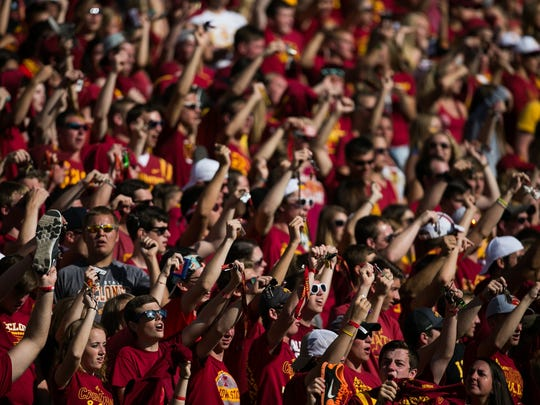 Iowa State fans cheer on the Cyclones during their game against Iowa in Ames on Saturday, September 12, 2015. Iowa would go on to win 31-17.