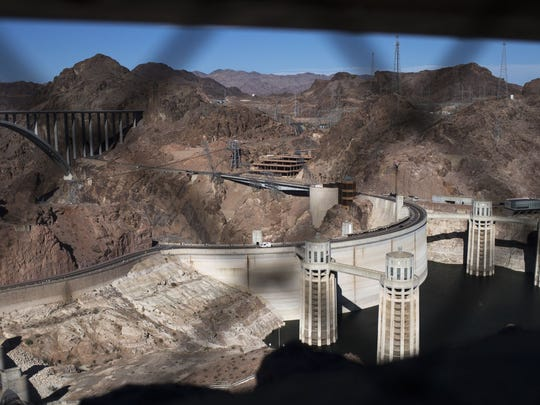 This is the view of Hoover Dam from the machine gun