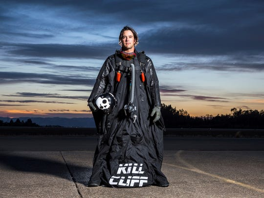 Andy Stumpf in a wing suit.