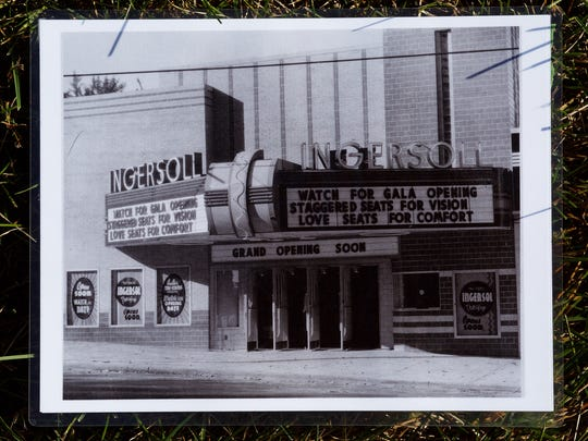 A historic photo of the Ingersoll Theater at 3711 Ingersoll is on the endangered buildings list put out by the Des Moines Rehabbers Club in Des Moines on Saturday, October 10, 2015.
