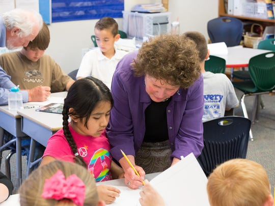 Students in Darnall's third-grade classroom at Heritage Elementary School.