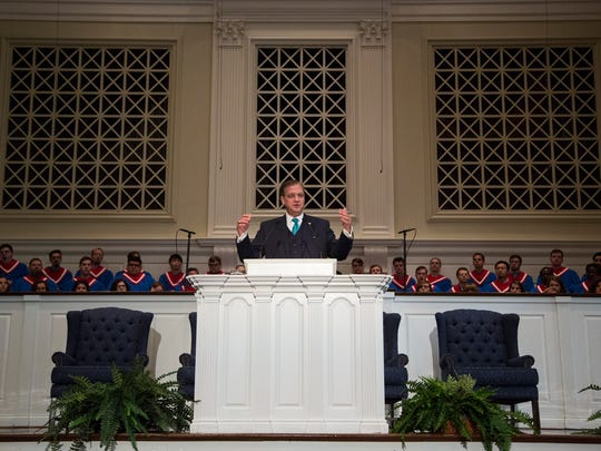 """Southern Baptist Theological Seminary President Rev. Albert Mohler Jr. speaks a message on """"The Great Shepherd of the Sheep"""" from Hebrews 13:20-21 in the Holy Bible during Heritage Week, Tuesday, October 12, 2015, at Southern Baptist Theological Seminary's Alumni Memorial Chapel in Louisville, Ky."""