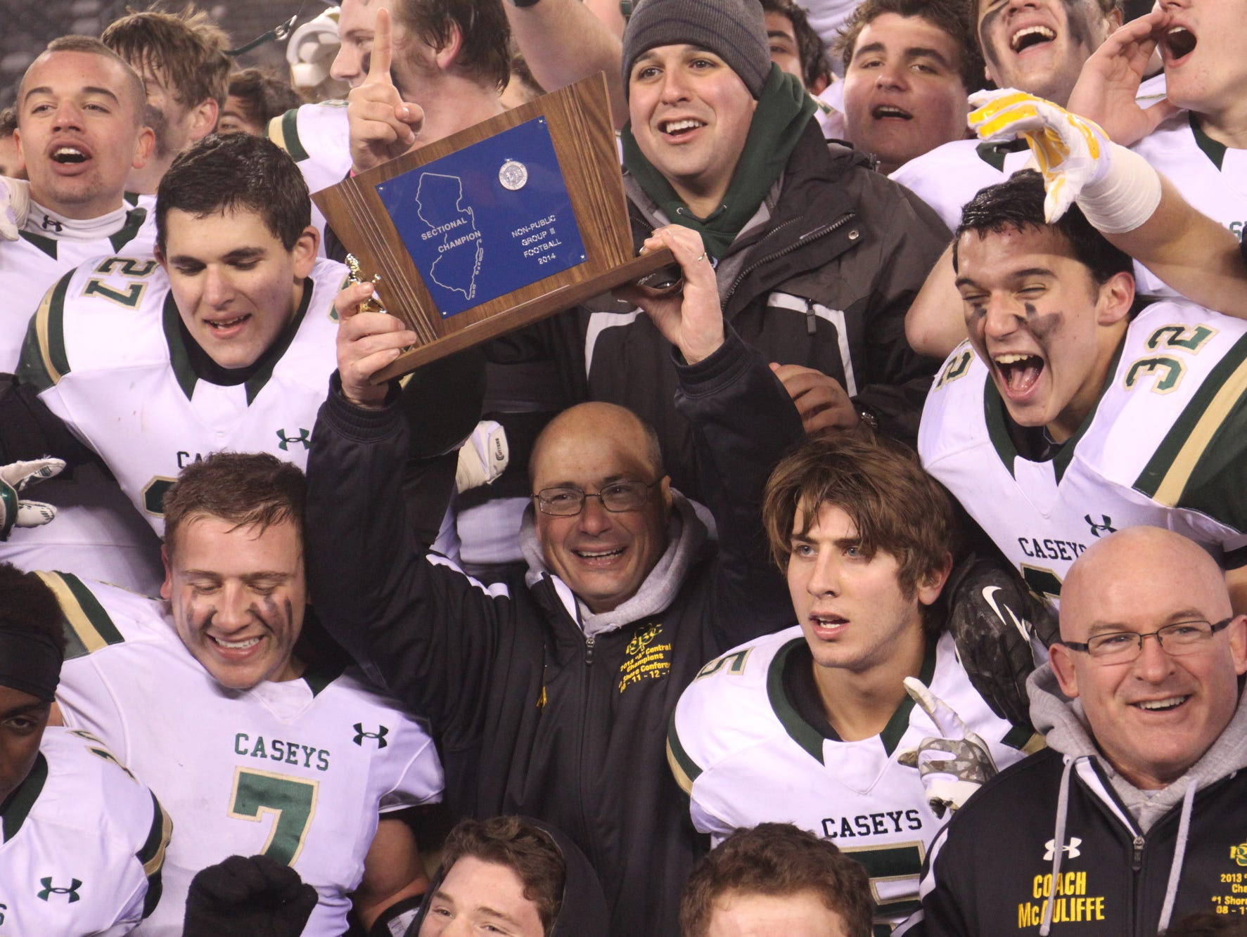 Red Bank Catholic, shown celebrating the NJSIAA Non-Public Group III championship last Dec. 7, would be willing to play a game against North Jersey Non-Public power, athletic director Joe Montano said Wednesday.