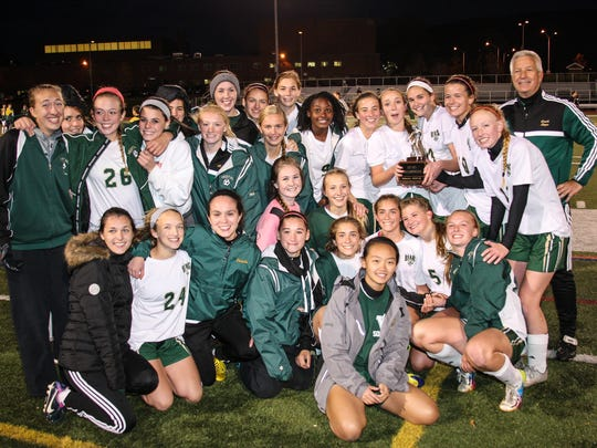 The Vestal girls are all smiles after winning the STAC soccer championship Monday.