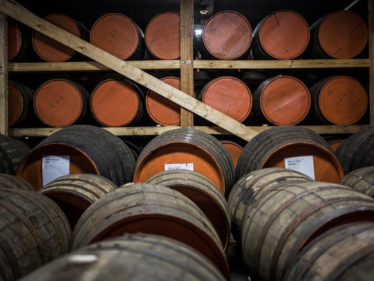 Aging barrels of brandy lay dorment in the basement