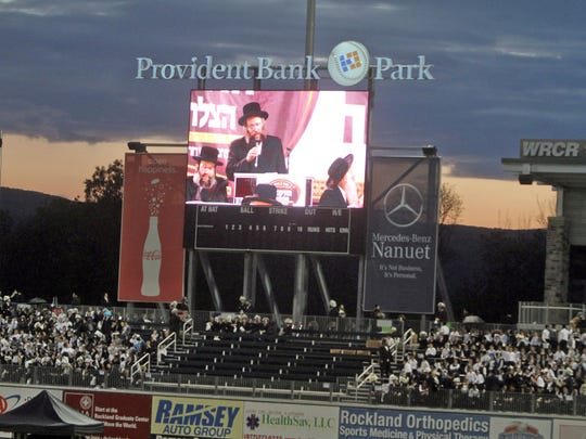 Hasidic men and boys packed Provident Bank Park in Ramapo on May 9, 2013, for a rally about the use and potential danger of the Internet.