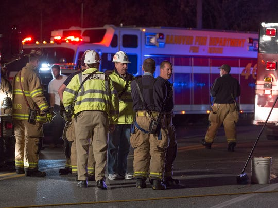 Crews work at the scene of a two-vehicle crash on Wilson Avenue near the intersection of Karen Lane in Penn Township on November 7th, 2015. -