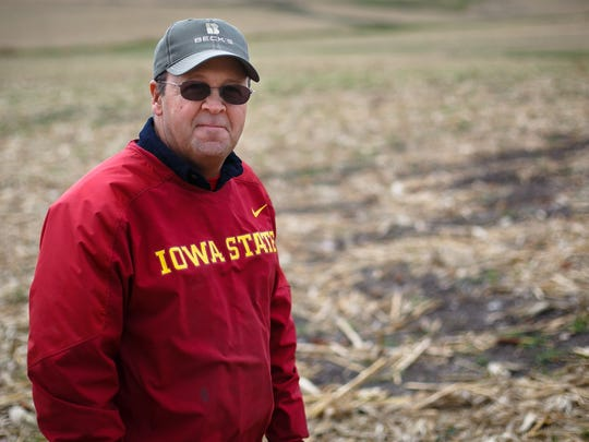 Rathbun Land and Water Alliance board member Kevin Luedtke stands over his fields on Thursday, October 29, 2015.