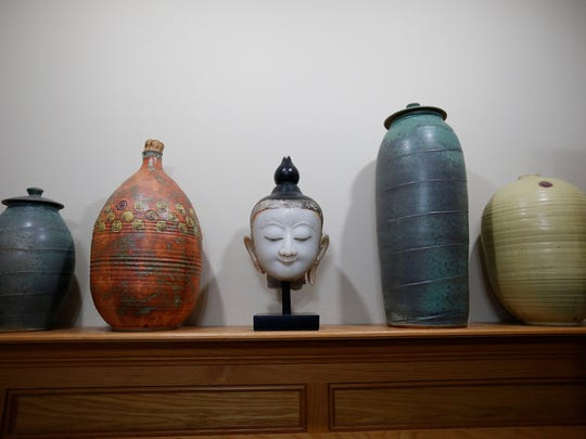 Ceramics from the Des Moines Arts Festival mix with more exotic finds in a private collection of art that Ted Townsend plans to sell in a tag sale Nov. 20-22 in Urbandale.