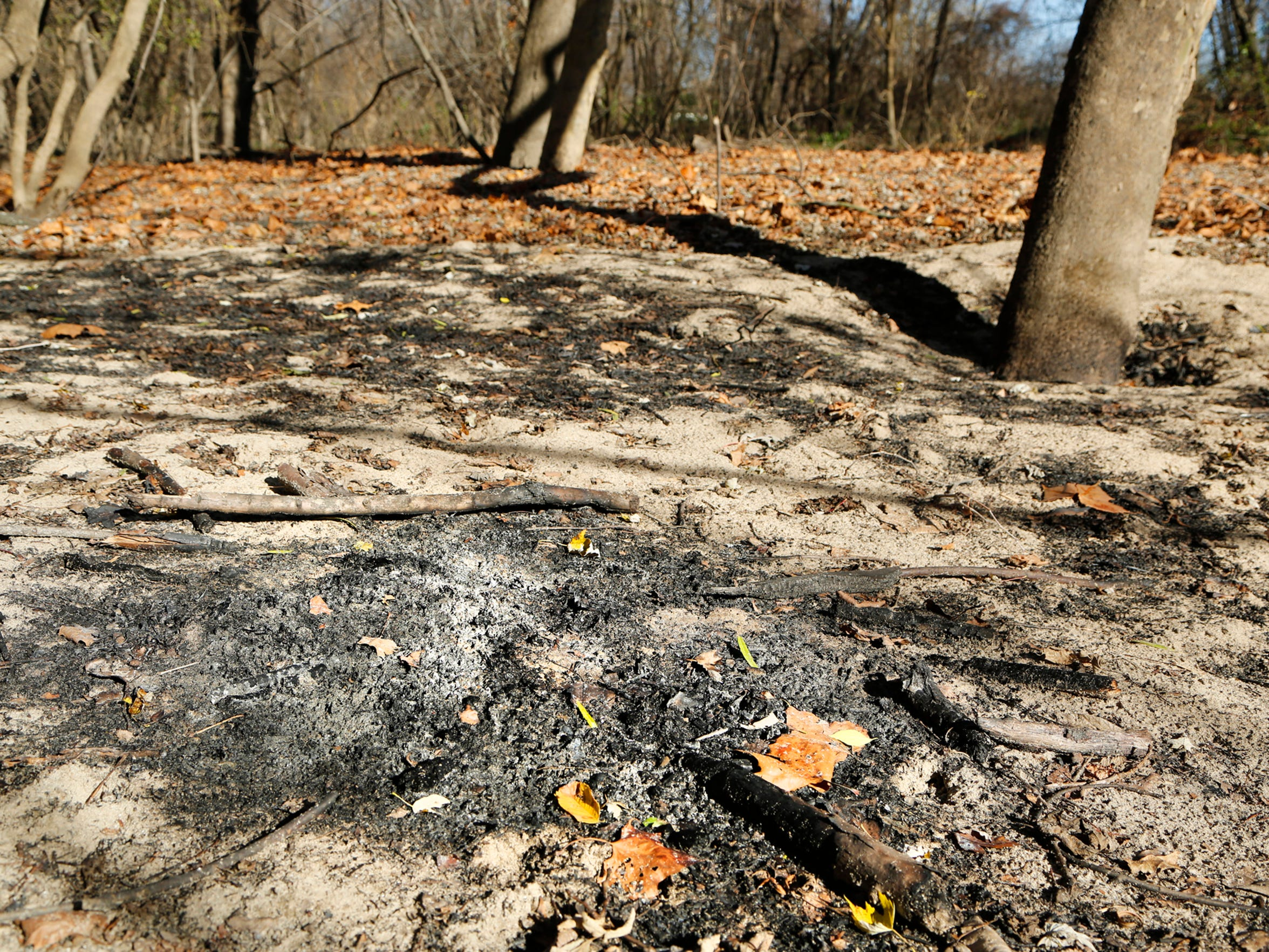 An area where homeless recently had a campfire Thursday, November 19, 2015, south of Tapawingo Park in West Lafayette.