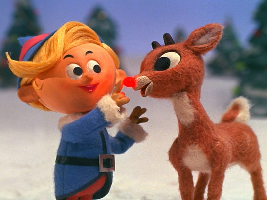 Hermey the Elf and Rudolph team up in the Christmas TV classic 'Rudolph the Red-Nosed Reindeer.'