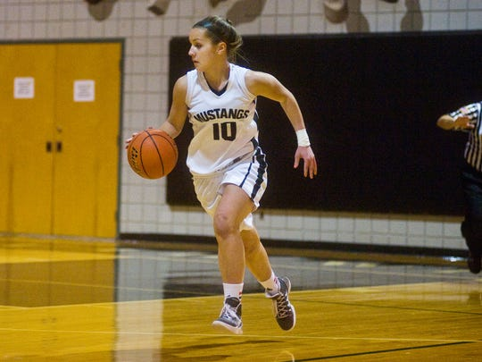 Jacey Shipley pushes the ball up floor for the South Western Mustangs.